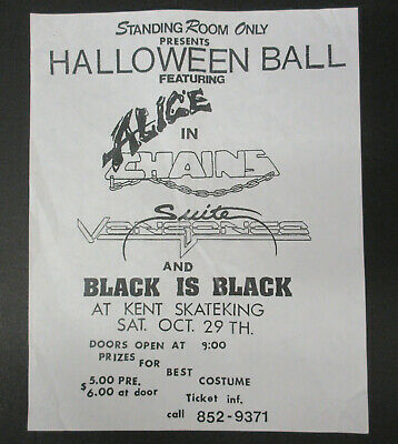 ALICE IN CHAINS Kent Skate King 1988 HALLOWEEN BALL Concert Flyer STAYLE VG+ - Halloween Concert Flyer