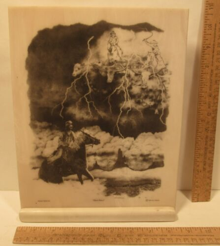 """""""Ghost Riders"""" - Montana Marble - B J Williams 1992 - etching on faux marble"""