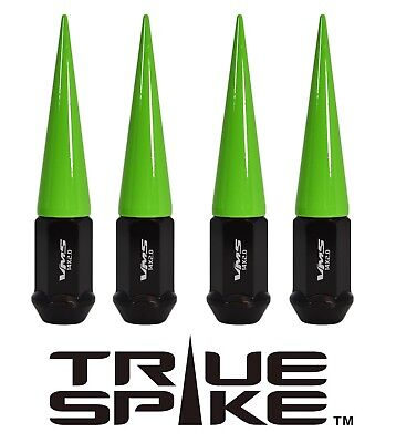 20 TRUE SPIKE 124MM 14X2.0 FORGED STEEL EXTENDED SPIKE LUG NUTS NEON GREEN
