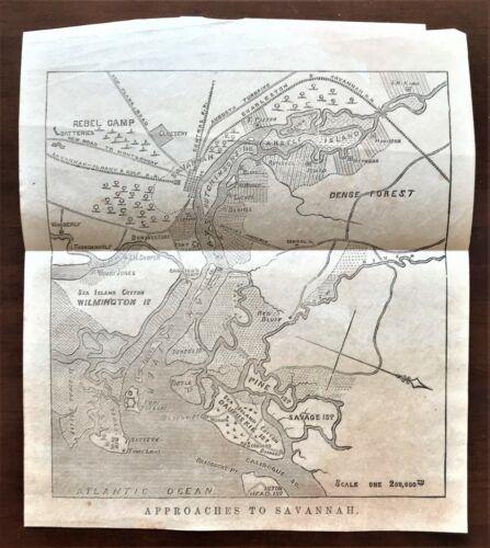 Original 1868 Civil War Vellum Map ~ APPROACHES TO SAVANNAH ~ Detailed Very Rare
