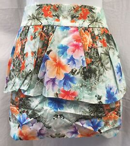 BNWT Floral Print ZARA Mini Skirt With Peplum Size L (UK 12-14) RRP £29.99