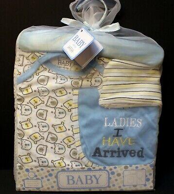 4 pc Newborn Baby Boy Ladies I Have Arrived Layette Set Hat Bib Romper 0-6 (Baby Boy Layette Set)