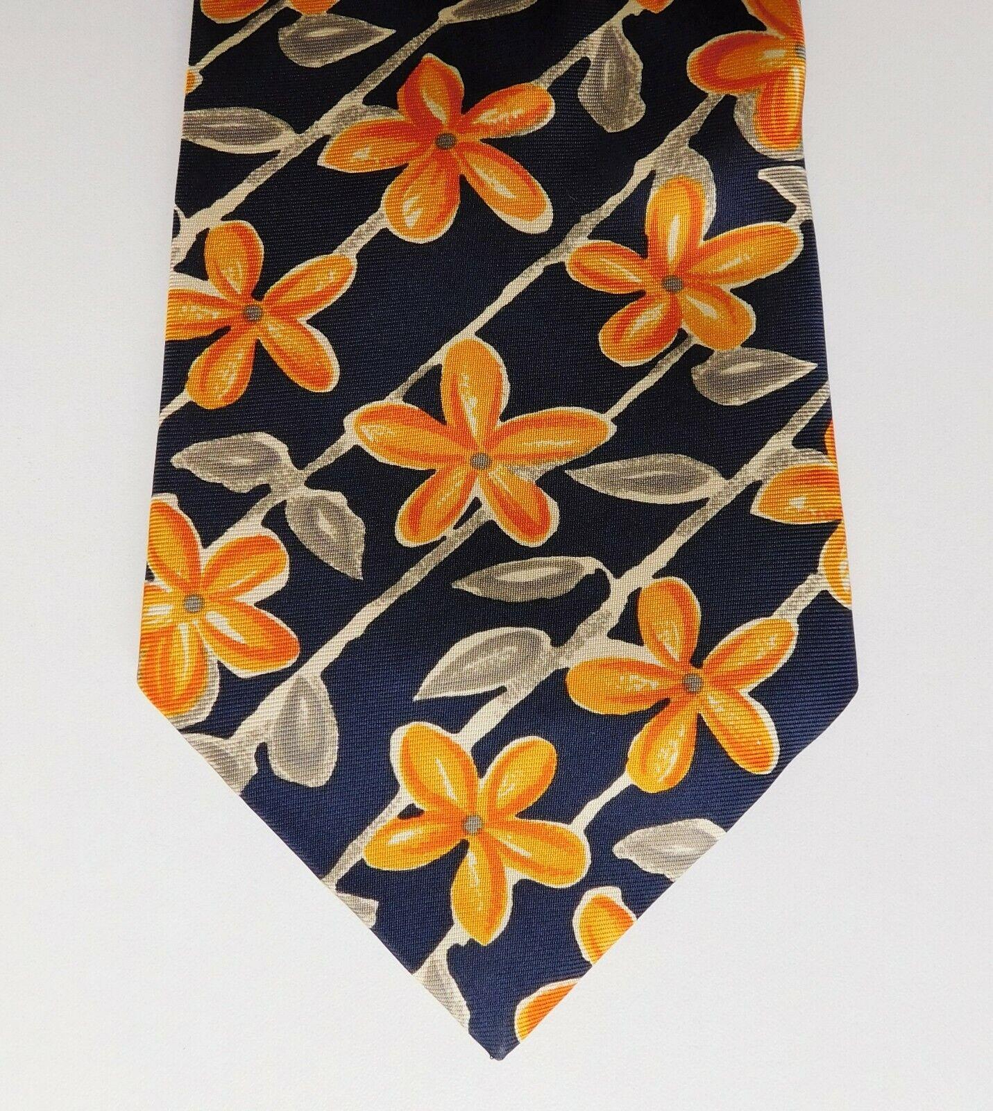 Next striped silk tie Floral print Bright flower design Made in UK