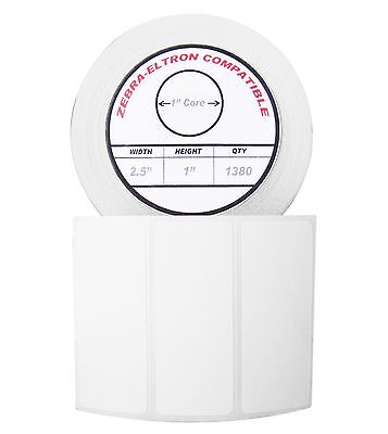 1 Roll1380 Labels Of 2.5x1 2-12 X 1 Direct Thermal Zebra Eltron Labels