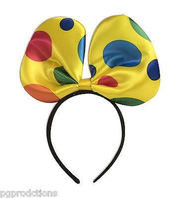 1 POLKA DOT BOWTIE HEADBAND CLOWN BOW TIE Girls Adult Child Cap Hat Play Ears - Clown Bow