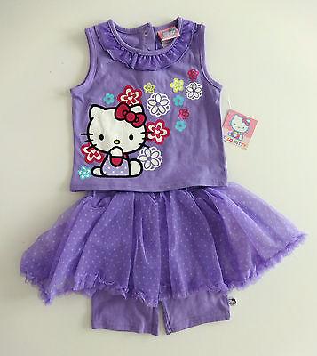Babykleid~HELLO KITTY~USA~Gr.80~T-Shirt+Rock~TUTU~Sommer~Anzug~Katze~lila~18 Mon