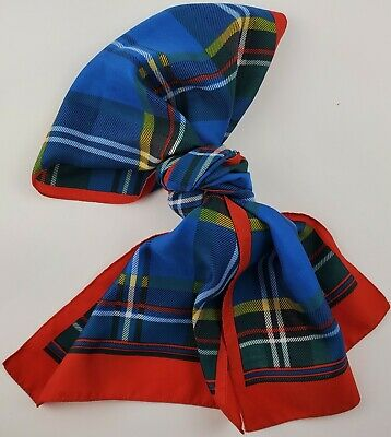 Vintage Scarf Styles -1920s to 1960s Vintage Polyester Scarf Tartan Red Framed Rectangle Blue Green Yellow Red $9.99 AT vintagedancer.com