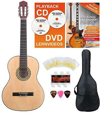 Left Hand Acoustic Classic Guitar Beginner Package Size 4/4 Set String Bag Tuner