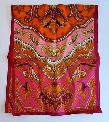 Vintage Scarf Styles -1920s to 1960s Vintage Pink / Orange / Red Paisley Silk Scarf $24.95 AT vintagedancer.com