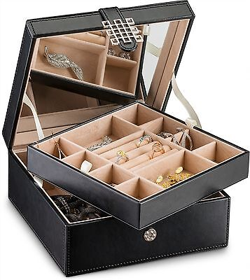 Jewelry Organizer Box Small for Women Girls & Teens 17 Slot Holder Case Black ()