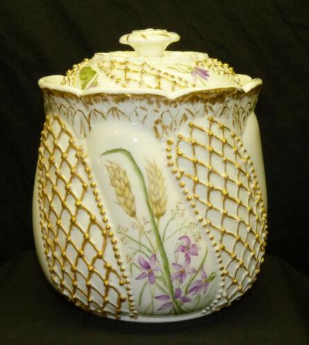 Antique Knowles KTK Lotus Ware Biscuit Jar Valenciennes Fishnet Hand Painted