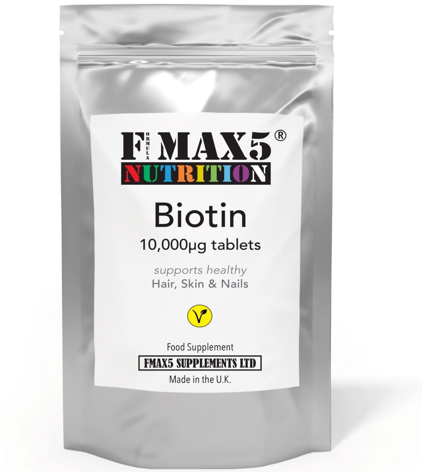 BIOTIN 10,000mcg Max Strength Healthy Hair Skin Nails Growth Vitamins B7 Tablets 1,000 tablets