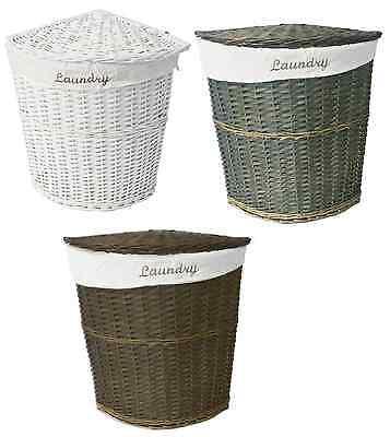 White Brown Olive Wicker Corner Laundry Basket Bin Bathromm Bedroom Storage ()