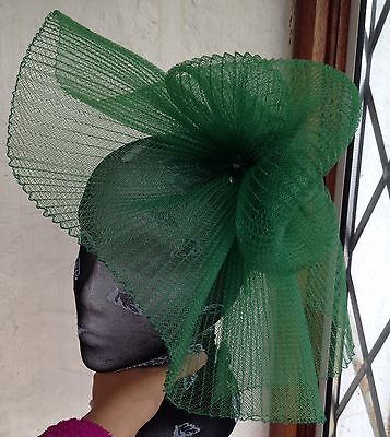 Green fascinator millinery burlesque wedding hat hair piece ascot race bridal 1