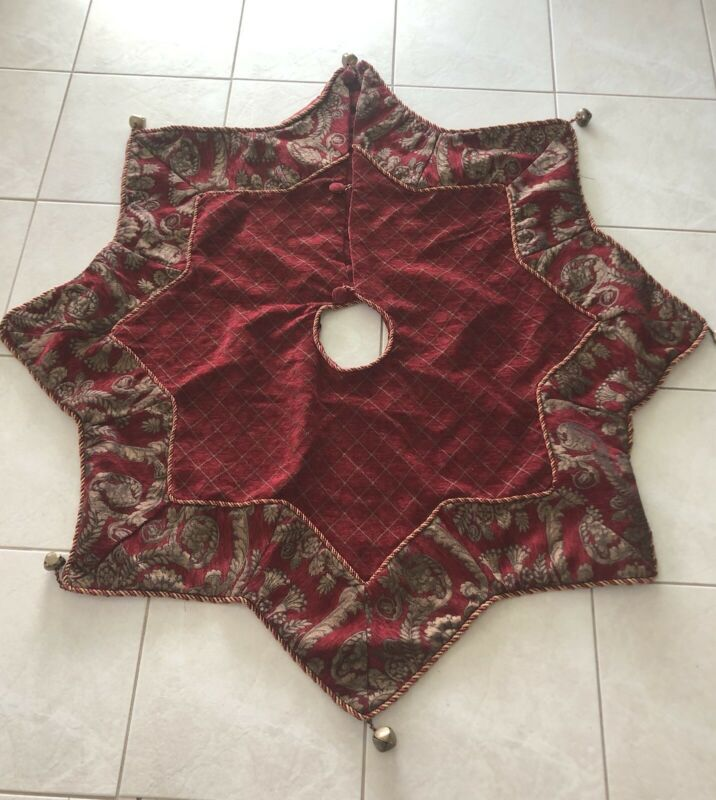 "Stratford Home Christmas Tree Skirt 8 Point Star Shape Burgundy Tapestry 50"""