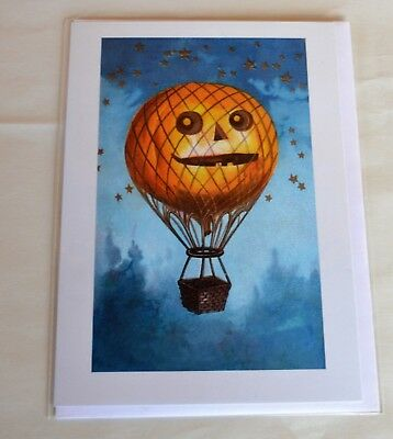 Halloween Blank Note Card Vintage Image Jack O Lantern Pumpkin Hot Air Balloon
