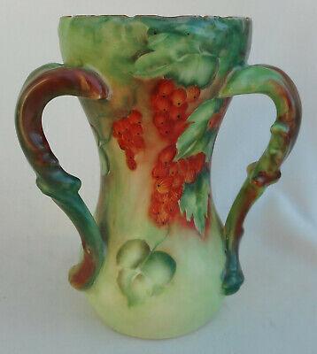 Antique Coiffe Limoges France Handled Hand Painted Porcelain Basket Green 4 38