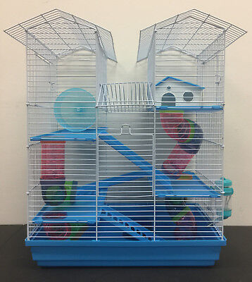 Rodent Cage - 5 Level Large Twin Tower Hamster Habitat Rodent Gerbil Mouse Mice Rats Cage 368