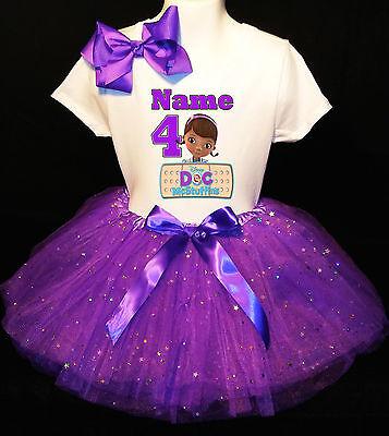 Doc McSTUFFINS *With NAME* 4th fourth 4 Birthday purple Tutu dress Fast Shipping (Doc Mcstuffins Mädchen Kleider)