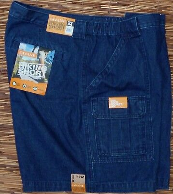SAVANE MENS COOL COTTON DARK DENIM ELASTIC WAIST HIKING/CARGO SHORTS LIST $54  Shorts Dark Denim
