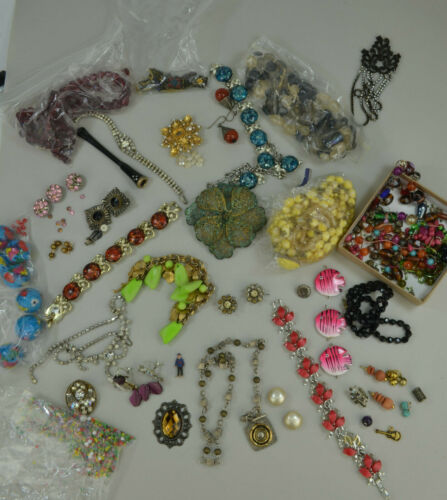 VINTAGE JEWELRY LOT As Is 1.75 Lb. For Craft Recycle 40