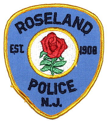 ROSELAND NEW JERSEY NJ Police Sheriff Patch ROSE RED FLOWER VINTAGE OLD MESH ~