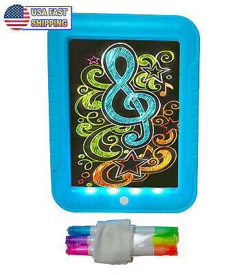 Kids Light Up LED Drawing Painting Board - Magic Glow In The Dark Doodle Pad - Light Up In The Dark
