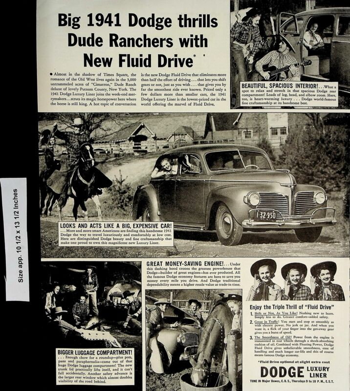 1941 Dodge Luxury Liner Dude Ranchers New FLuid Drive Vintage Print Ad 5887