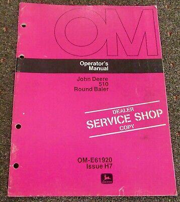 John Deere 510 Round Baler Operators Manual Om-e 61920