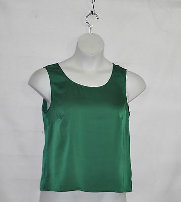 Joan Rivers Wardrobe Builders Satin Stretch Tank Size S Green