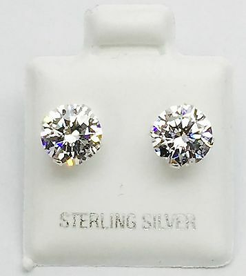 925 Sterling Silver,Stud Earrings With Man Made Diamond, 6 MM