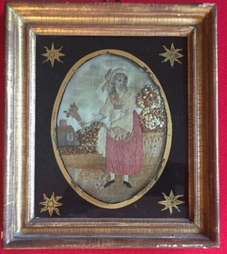 Antique Early 19th c. Silk Needlework Picture Eglomise & Gilt Wood Frame Harvest