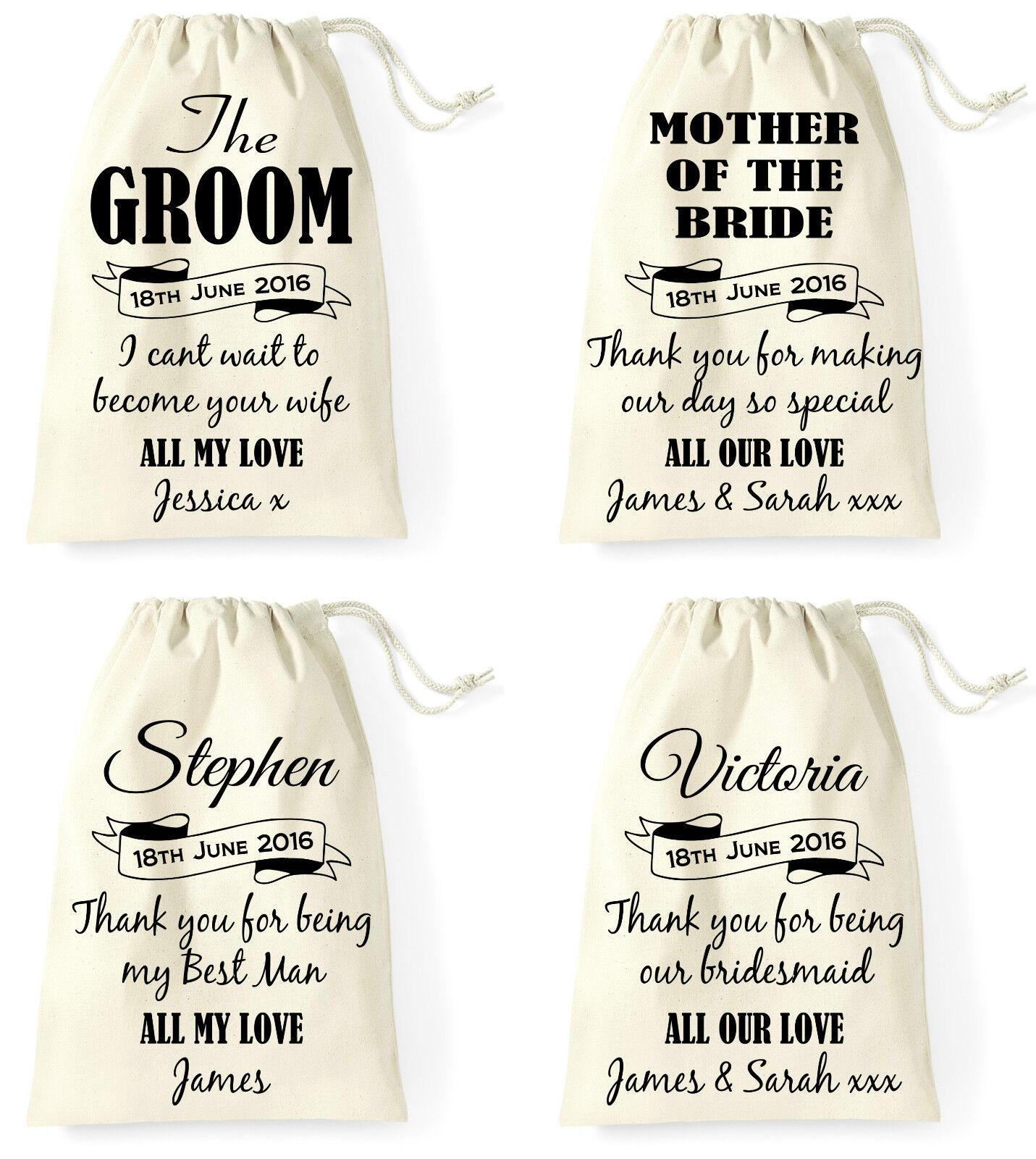 Personalised Wedding Day Gift Bag Groom Bride Best Man Bridesmaid Flower Girl