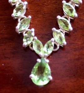 Beautiful silver peridot necklace.