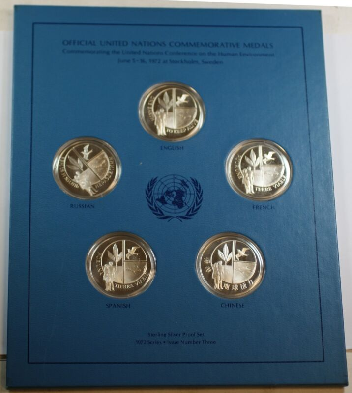 1972 U.N. Human Environment Conference Silver Proof 5 Language Commem. Medal Set