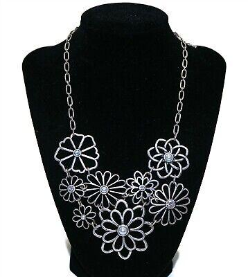 "LIA SOPHIA Signed Steampunk Flower & Rhinestone Bib Style 16"" Necklace"