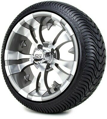 "14"" Vampire Gunmetal Golf Cart Wheels and Tires (205-30-14) - Set of 4"