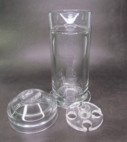 Vintage Waite Glass Medical / Dental Sterilizer Jar with Lid and Insert Tray