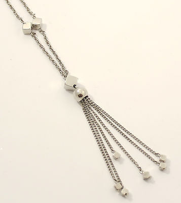 ART DECO Halskette mit Troddel+Würfeln Franse Metallquaste silberfarben 70cm