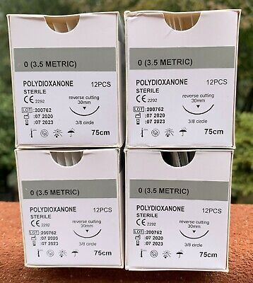 Veterinary Surgical Suture 00 Pdspdo 4 Boxes 72ct Polydioxanone R-cutting 30mm