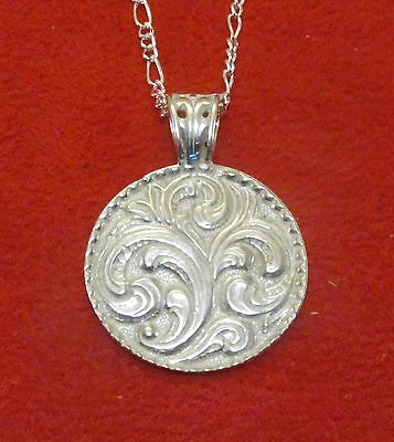Handcrafted Sterling SIlver Rosemalling Pendant  with chain Norway - Denmark