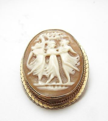 VINTAGE 9 CT ROSE GOLD THREE GRACES CAMEO BROOCH / PENDANT / PIN HALLMARKED 1970