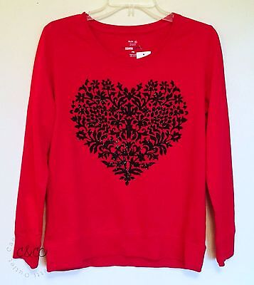 Style & Co Sport NEW Essential Sweatshirt Top Red Black Heart Petite Medium PM