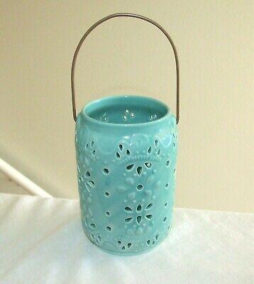 Glazed Ceramic Hanging Pillar Candle Lantern Holder w/Handle, Light Blue - EUC