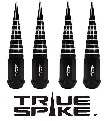20 TRUE SPIKE 124MM 14X2.0 STEEL EXTENDED SPIRAL SPIKE LUG NUTS BLACK SILVER