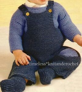 VINTAGE BABY KNITTING PATTERN FOR DUNGAREES, SWEATER & SOCKS - 2 SIZES
