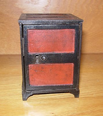 """ANTIQUE """"TWO PANEL DOOR SAFE"""" CAST IRON STILL BANK - VERY FINE CONDITION"""
