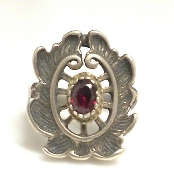 1940s Jewelry Styles and History German 1940s Ornate Vintage 835 Silver Garnet Ring Sz 7  $72.25 AT vintagedancer.com