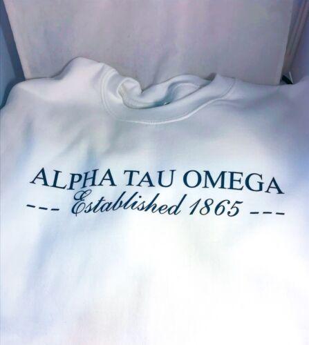 Alpha Tau Omega Fraternity Crewneck Sweatshirt- White-Size Large-New!