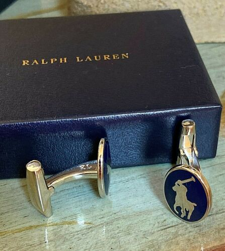 Cufflinks - Genuine RALPH LAUREN Silver Plated Cruise Navy Polo - England